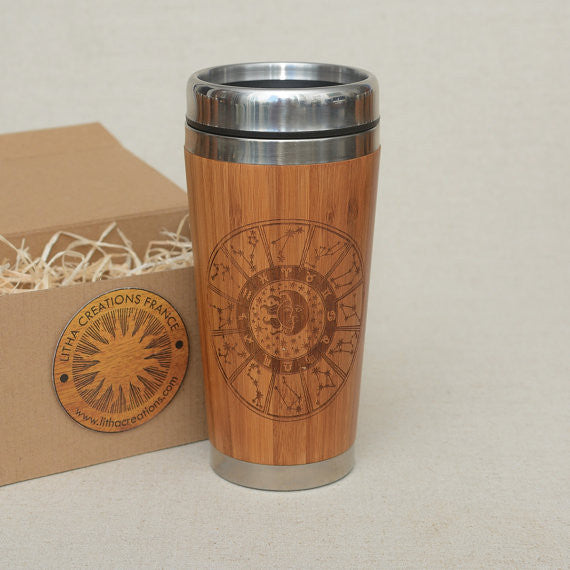 Personalized Engraved Natural Bamboo Tumbler Travel Mug ''CONSTELLATIONS""