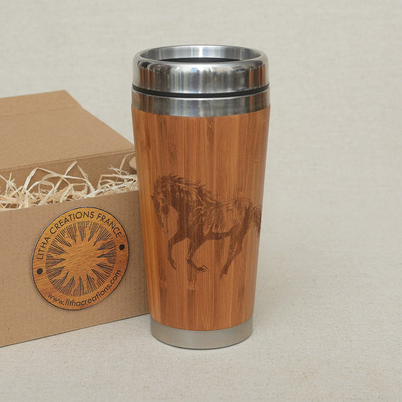 Personalized Engraved Natural Bamboo Tumbler Travel Mug ''MUSTANG""