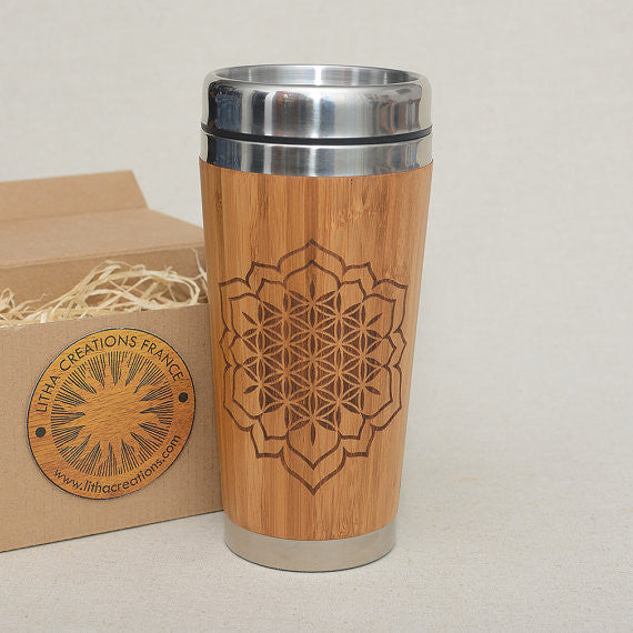 CHAKRA FLOWER Engraved Wood Travel Mug Tumbler