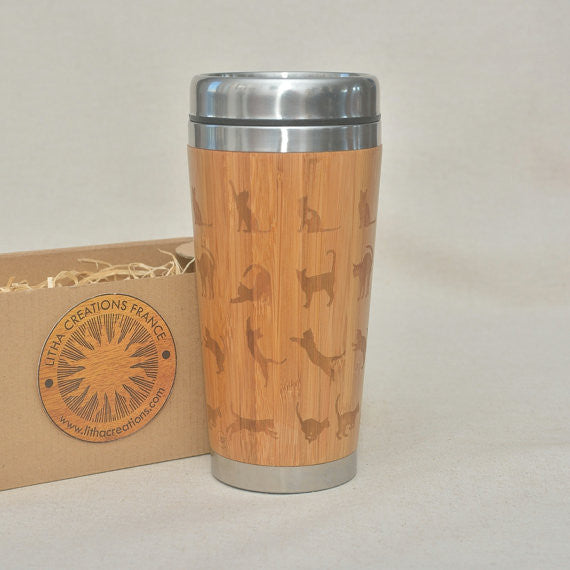 Personalized Engraved Natural Bamboo Tumbler Travel Mug ''Cats""