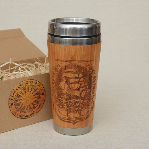 SAILING IN THE MOONLIGHT Engraved Wood Travel Mug Tumbler