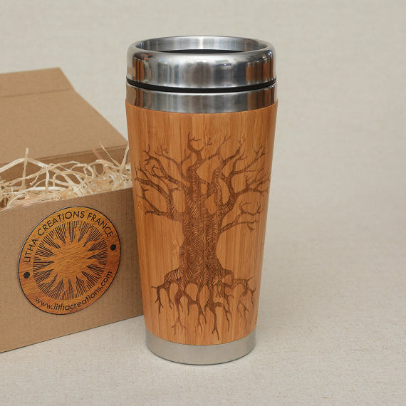 Personalized Engraved Natural Bamboo Tumbler Travel Mug ''TREE OF KNOWLEDGE""