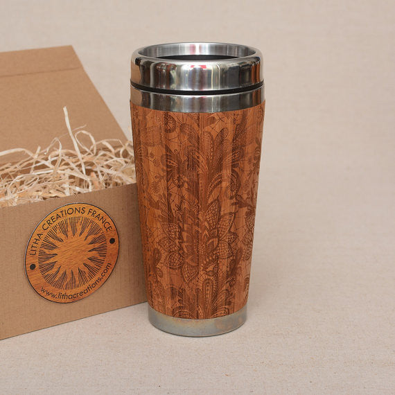 BLOSSOM Engraved Wood Travel Mug Tumbler
