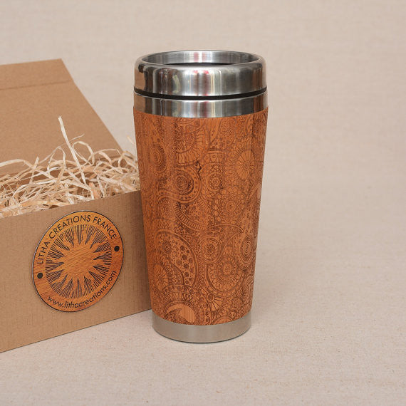 PAISLEY Engraved Wood Travel Mug Tumbler