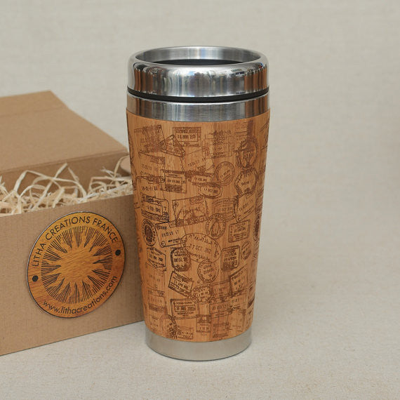 TRAVEL STAMPS Engraved Wood Travel Mug Tumbler
