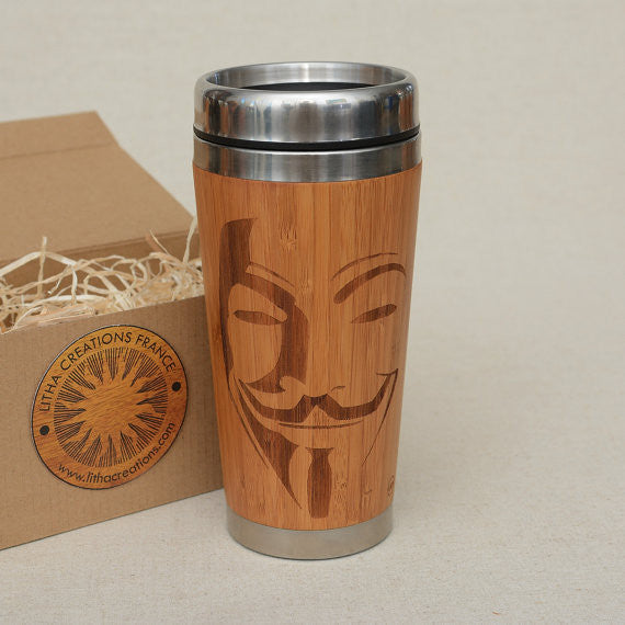 VENDETTA Engraved Wood Travel Mug Tumbler