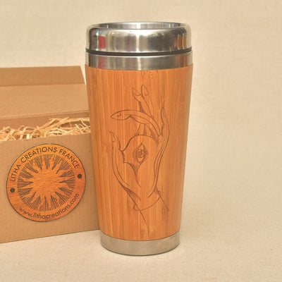 HAMSA Engraved Wood Travel Mug Tumbler - litha-creations-france
