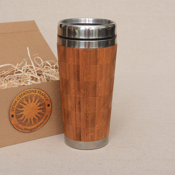 SQUARES Engraved Wood Travel Mug Tumbler