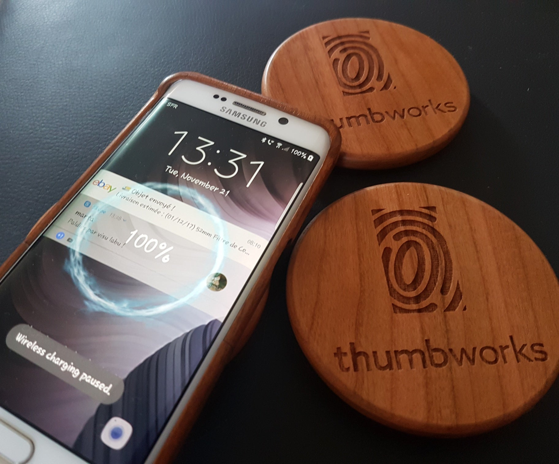 Wood QI Charger Wireless Charging Pad Custom Design OPEN FLOWER OF LIFE Engraved Cherry Wood