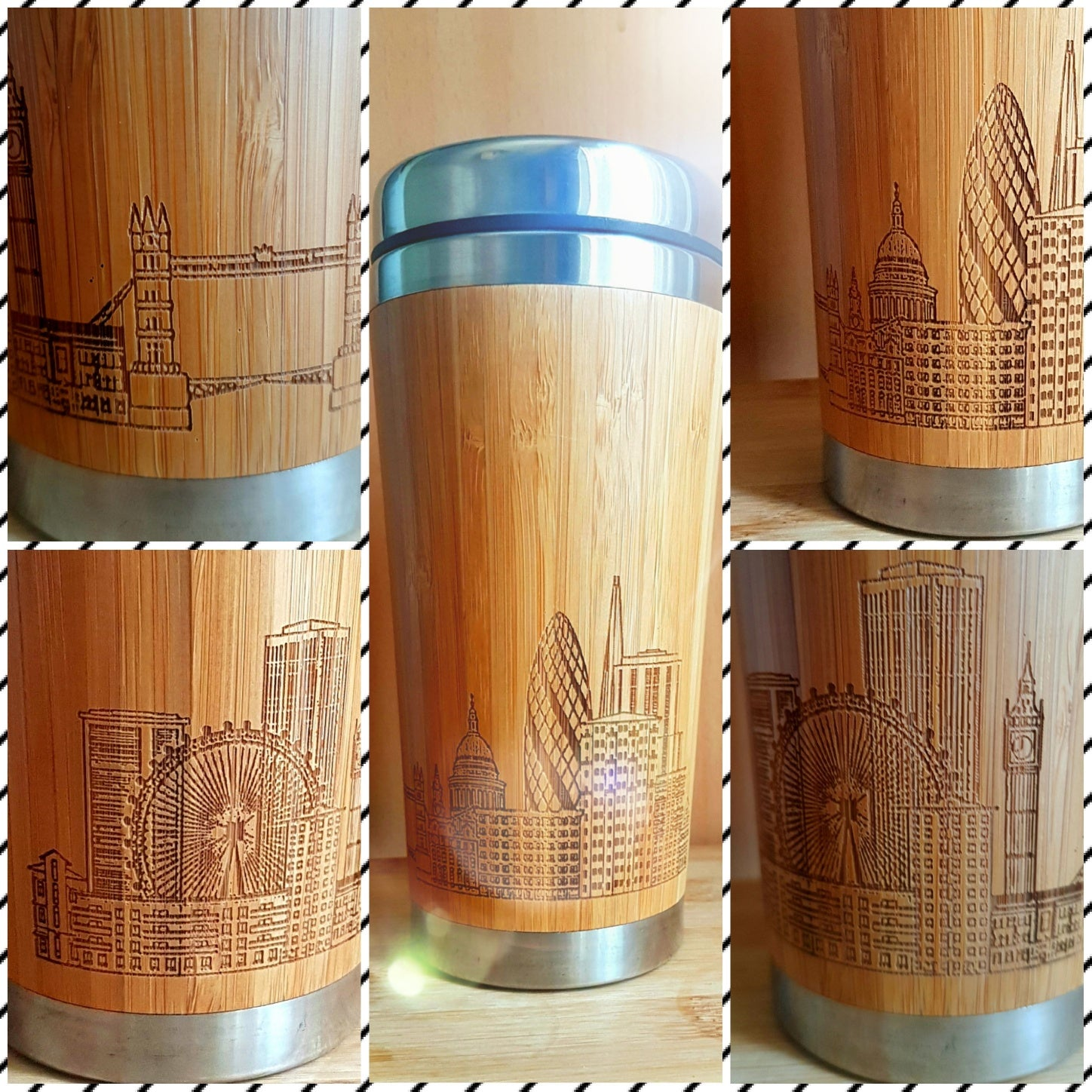 YOUR IMAGE FULLY Engraved All Around Wood Travel Mug Wooden Tumbler