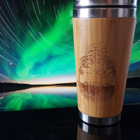 FIRMAMENT Flat Earth Engraved Wooden Travel Mug Tumbler