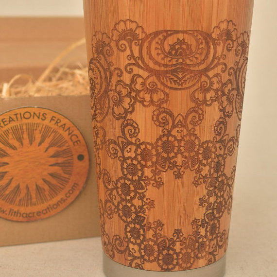 Personalized Engraved Natural Bamboo Tumbler Travel Mug ''FLORAL MANDALA''