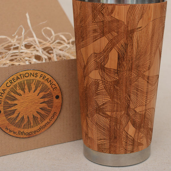 EUPHORIA Engraved Wood Travel Mug Tumbler