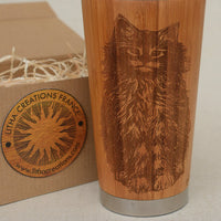 CAT Engraved Wood Travel Mug Tumbler - litha-creations-france