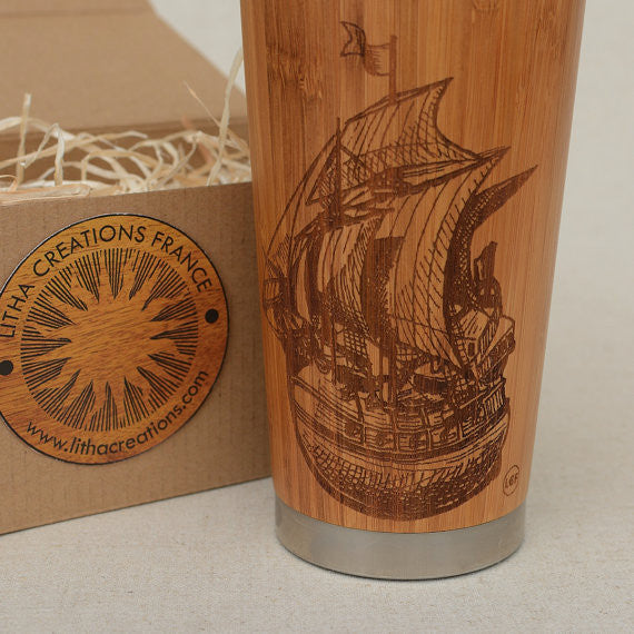 Personalized Engraved Natural Bamboo Tumbler Travel Mug ''Sailing Ship""