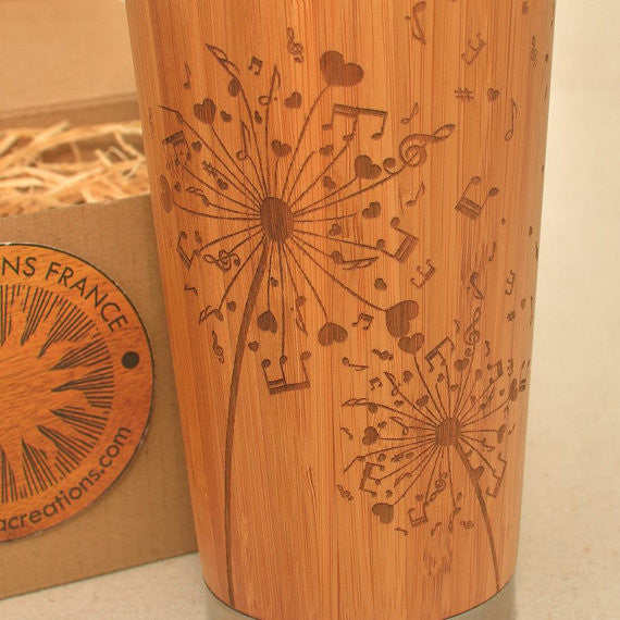 DANDELION NOTES  Engraved Wood Travel Mug Tumbler - litha-creations-france
