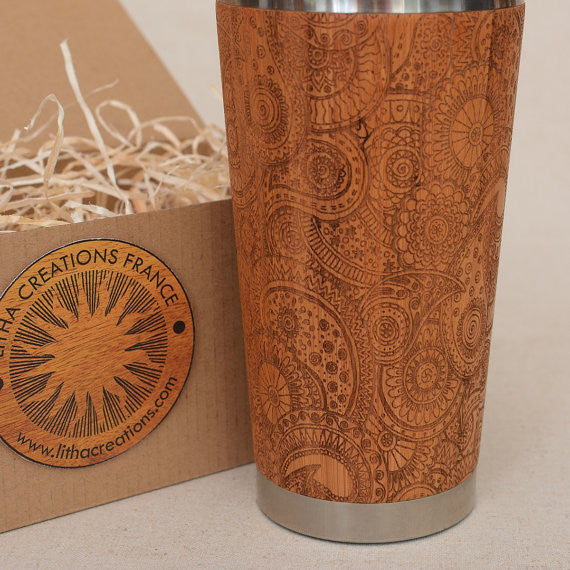 Personalized Engraved Natural Bamboo Tumbler Travel Mug ''Paisley""