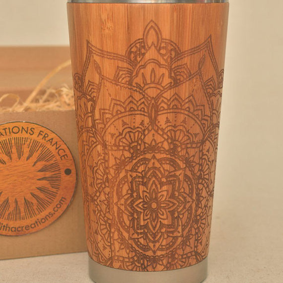 Personalized Engraved Natural Bamboo Tumbler Travel Mug ''PETAL MANDALA""