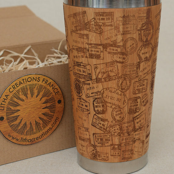 Personalized Engraved Natural Bamboo Tumbler Travel Mug ''Travel Stamps''