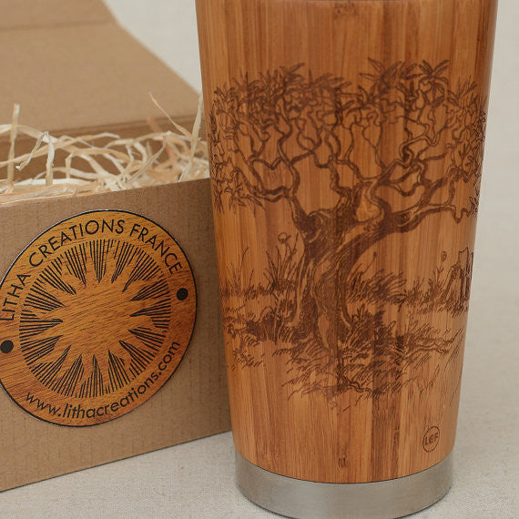 OLIVIER Engraved Wood Travel Mug Tumbler - litha-creations-france