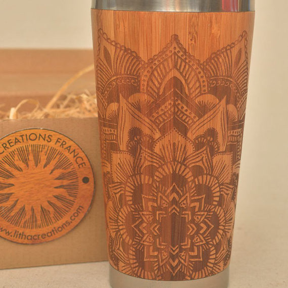Personalized Engraved Natural Bamboo Tumbler Travel Mug STAR MANDALA