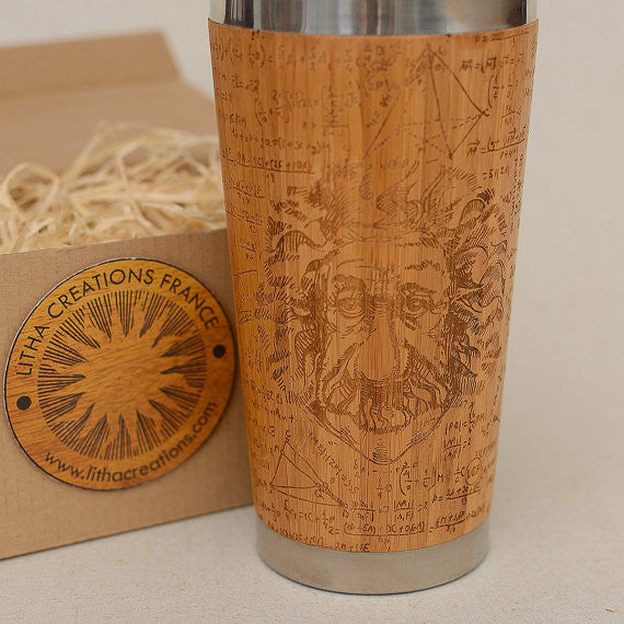 EINSTAIN Engraved Wood Travel Mug Tumbler