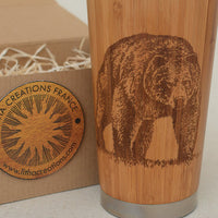 BEAR Engraved Wood Travel Mug Tumbler - litha-creations-france