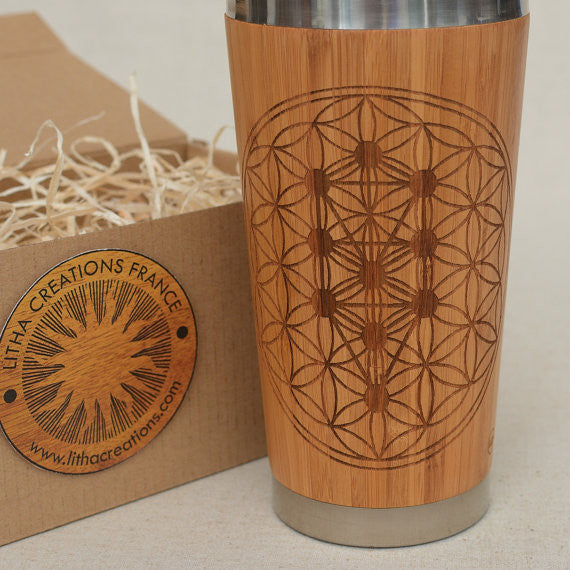 TREE OF LIFE Engraved Wood Travel Mug Tumbler - litha-creations-france