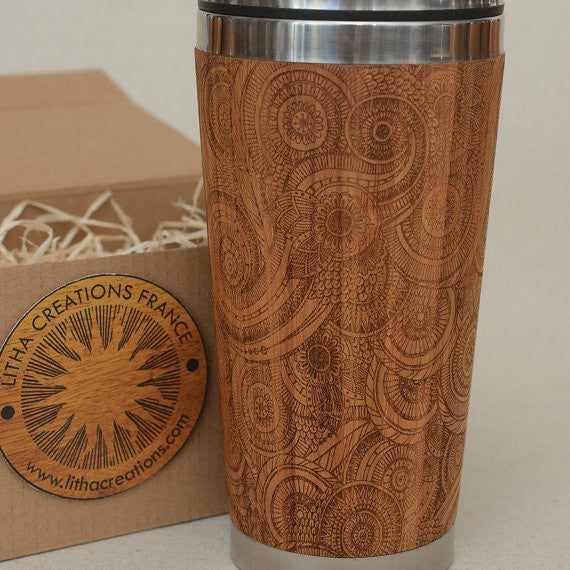 DESIRE Engraved Wood Travel Mug Tumbler