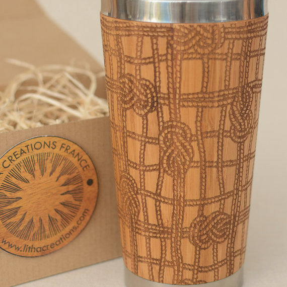 MOORING Engraved Wood Travel Mug Tumbler