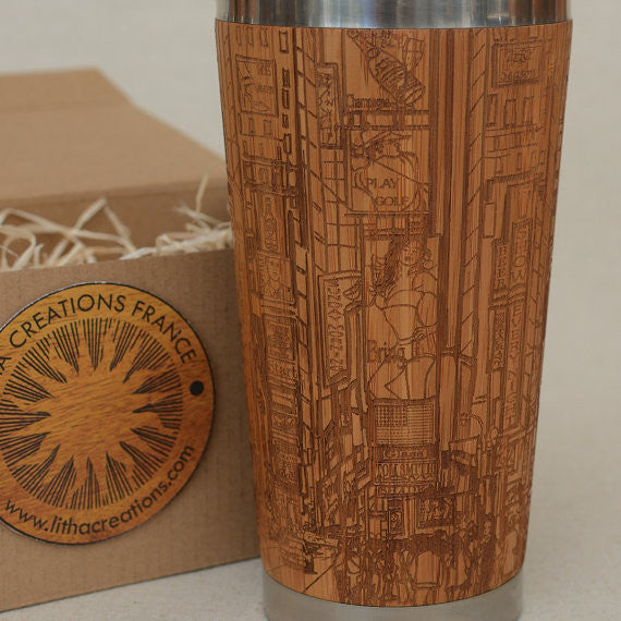 Personalized Engraved Natural Bamboo Tumbler Travel Mug ''Times Square""