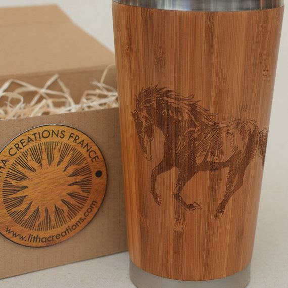 MUSTANG Engraved Wood Travel Mug Tumbler