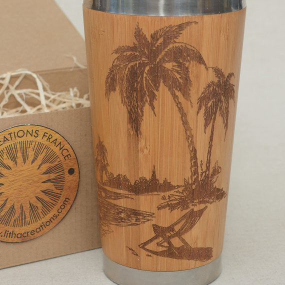 Personalized Engraved Natural Bamboo Tumbler Travel Mug ''Tropical Beach""