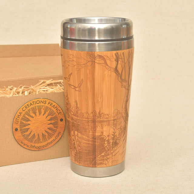 EARLY MORNING Engraved Wood Travel Mug Tumbler