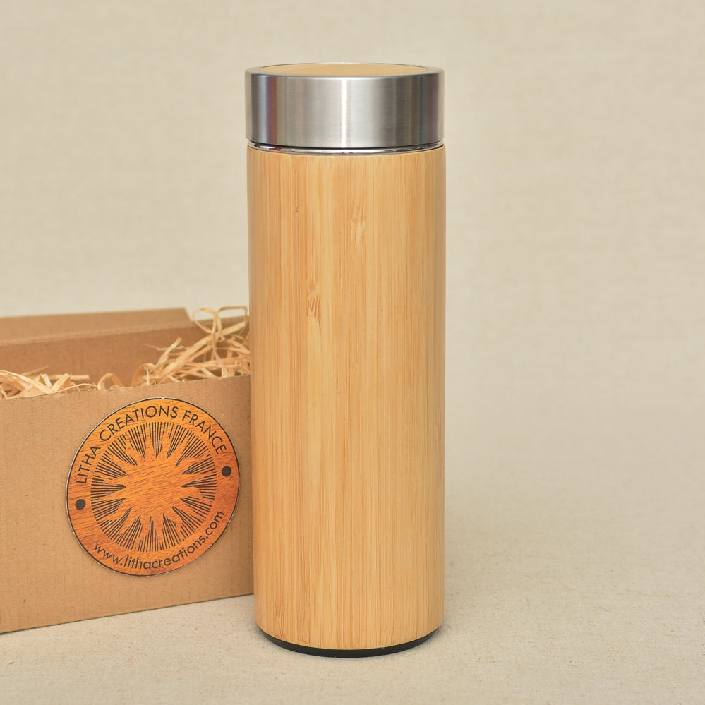 Both Sides Engraved IMAGE or TEXT on Wood Thermos - litha-creations-france