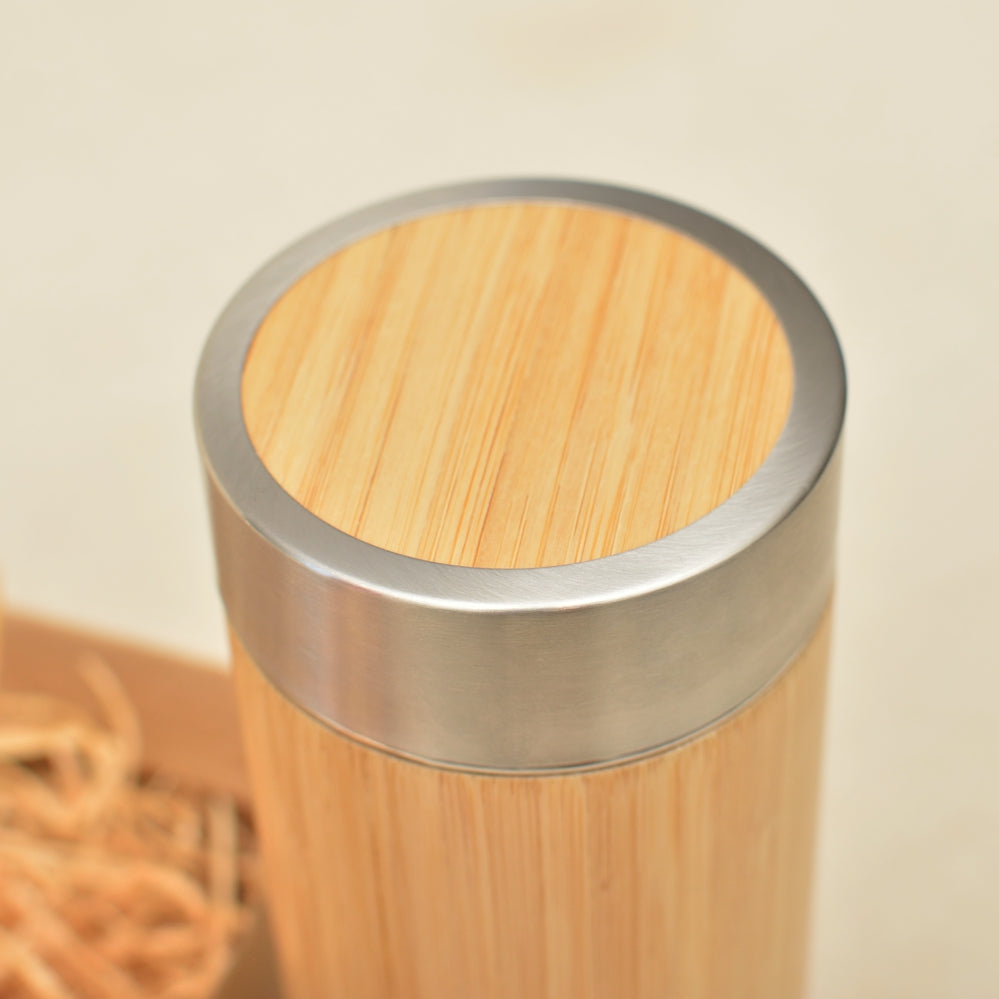 Your IMAGE or TEXT on ONE SIDE of the Wood Thermos - litha-creations-france