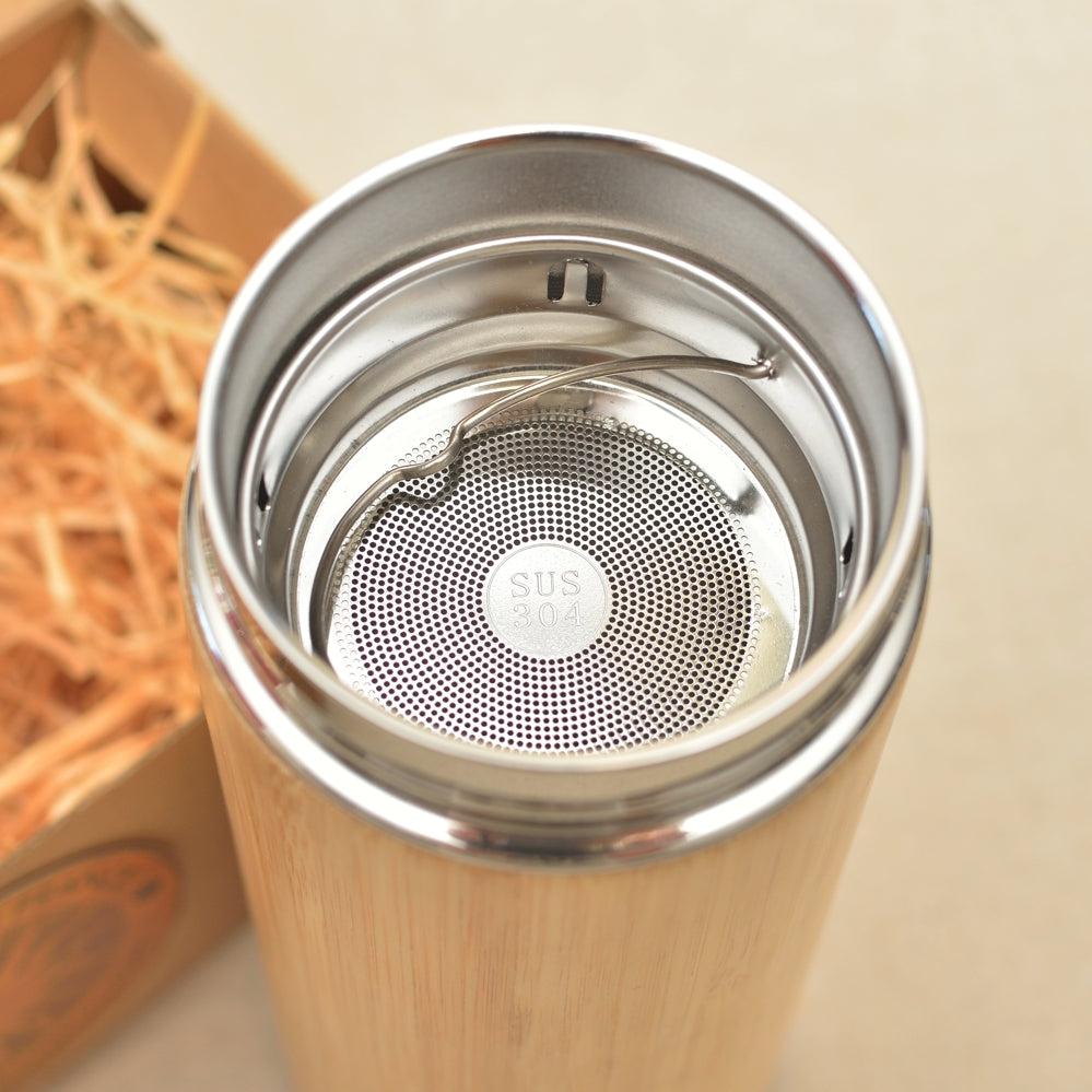 SUNFLOWER Wood Thermos Vacuum Flask