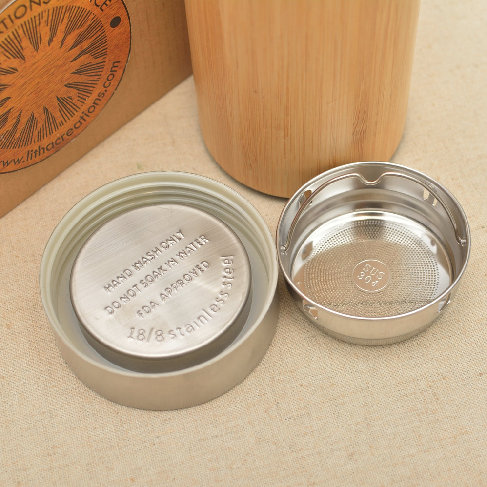 SUNFLOWER Wood Thermos Vacuum Flask - litha-creations-france