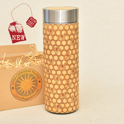MY HONEY Wood Thermos Vacuum Flask - litha-creations-france