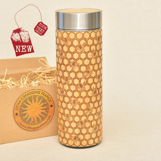 MY HONEY Wood Thermos Vacuum Flask