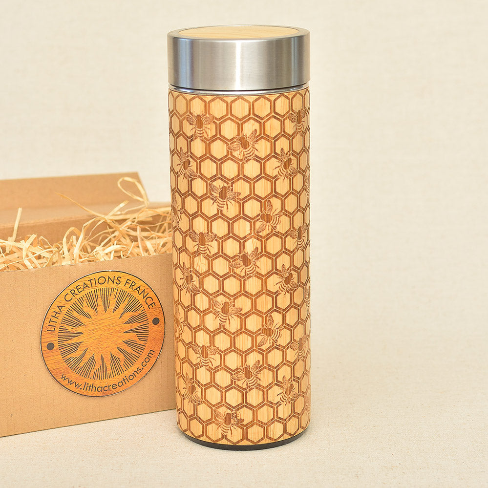 Bamboo Wood Thermos Flask Original Customized Engraving MY HONEY