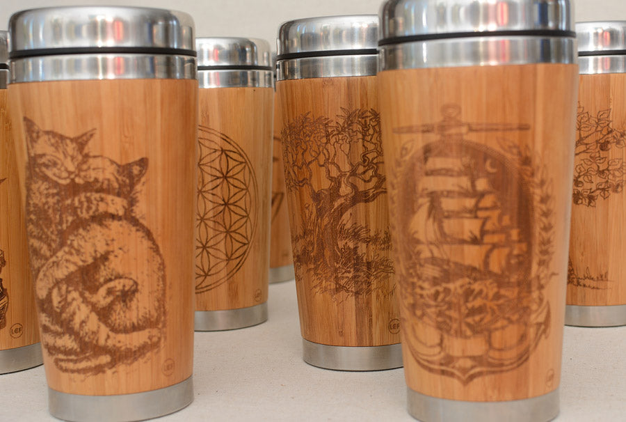 SQUARES Engraved Wood Travel Mug Tumbler - litha-creations-france