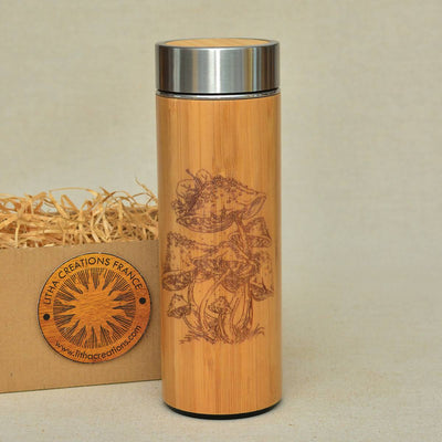 VINTAGE AMANITA Wood Thermos Vacuum Flask - litha-creations-france