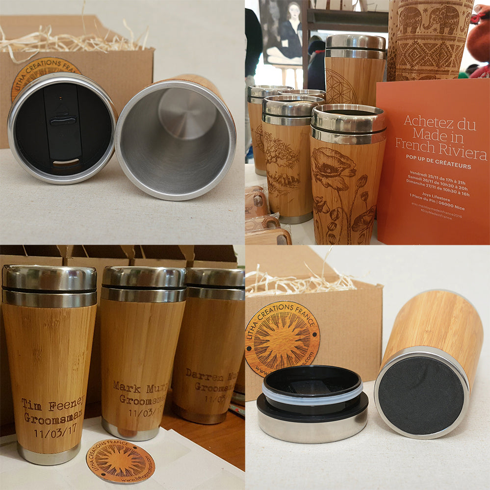 JAPAN Engraved Wood Travel Mug Tumbler