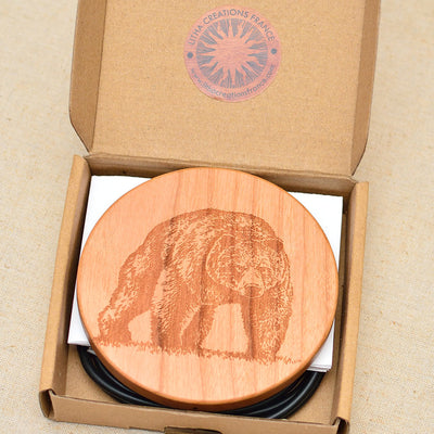 BEAR Wood Gift Wireless Phone Charger 10W QI Charging Pad Custom Engraved