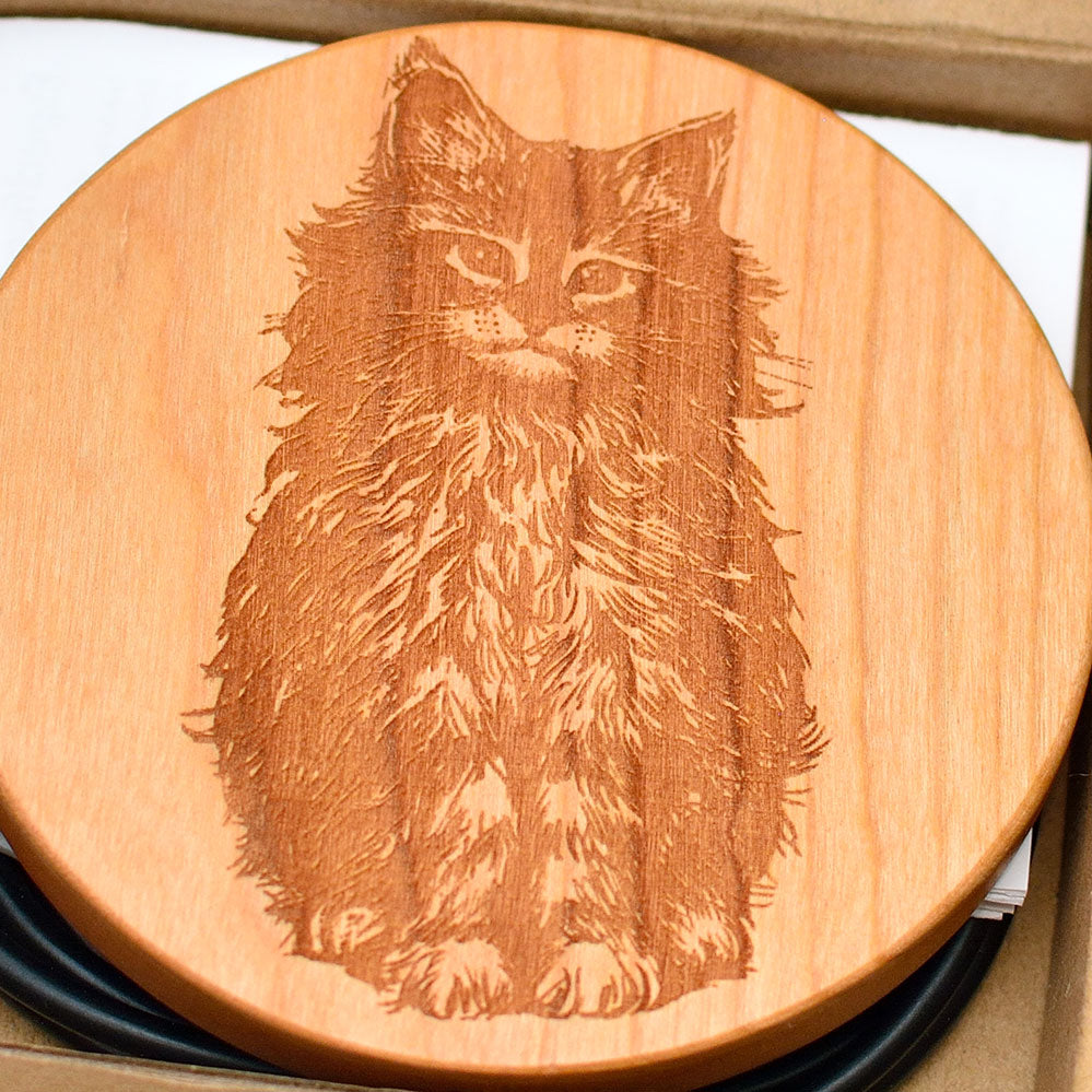 CAT Wood Gift Wireless Phone Charger 10W QI Charging Pad Custom Engraved