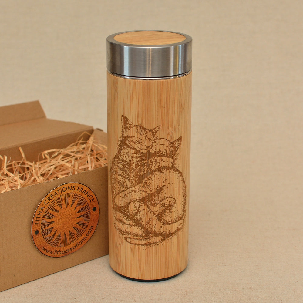 Cats Love Wood Thermos  Water Bottle Vacuum Flask