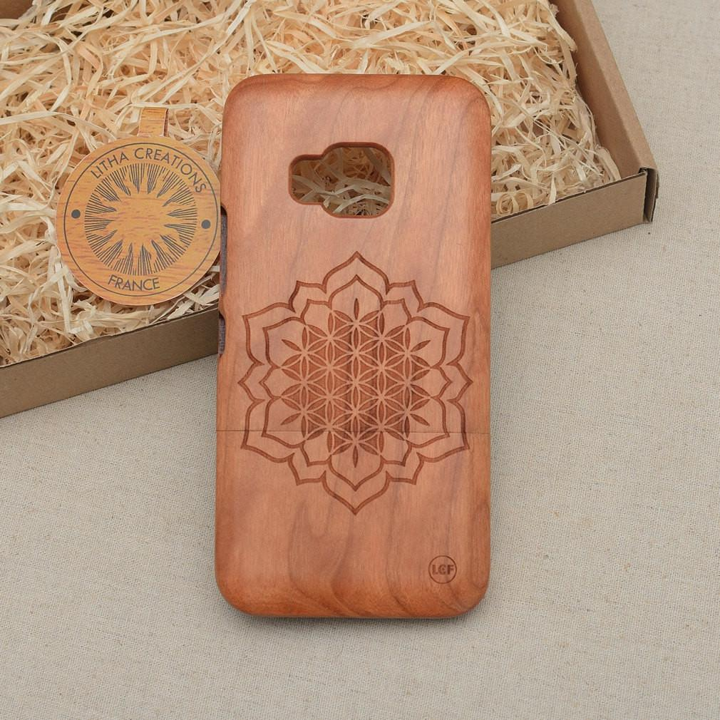 Sacred Geometric CHAKRA FLOWER OF LIFE Wood Phone Case