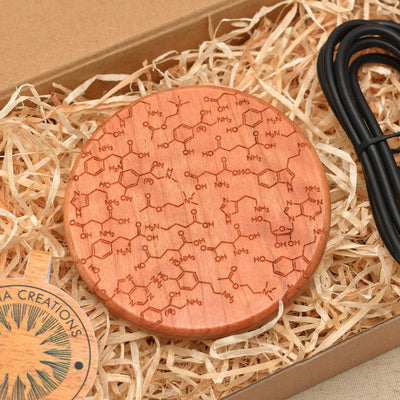 CHEMISTRY Wood Wireless Phone Charger 10W QI Charging Pad Custom Engraved - litha-creations-france