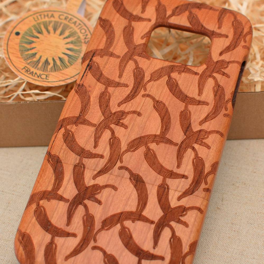 CHILLI Wood Phone Case Spices Custom Design - litha-creations-france